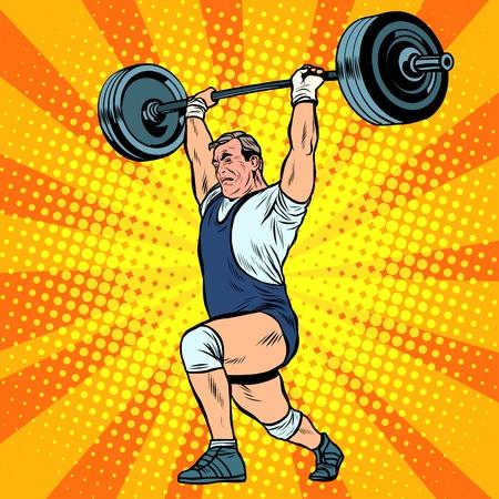 weightlifter: Weightlifting a weightlifter raises the bar pop art retro style. Summer sports games. Weightlifting, sports. A strongman raises weight