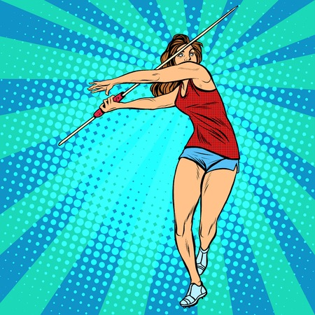 first form: girl athlete throwing javelin, athletics summer games pop art retro style. Javelin thrower, beautiful woman athlete