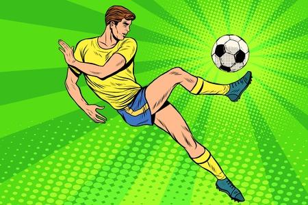 Football has a soccer ball. Football championship. soccer championship. Summer sports games. Vector athlete. pop art retro style