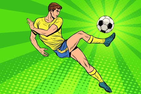Voetbal heeft een voetbal. Voetbalkampioenschap. voetbalkampioenschap. Zomersportsporten. Vector atleet. pop art retro stijl Stock Illustratie