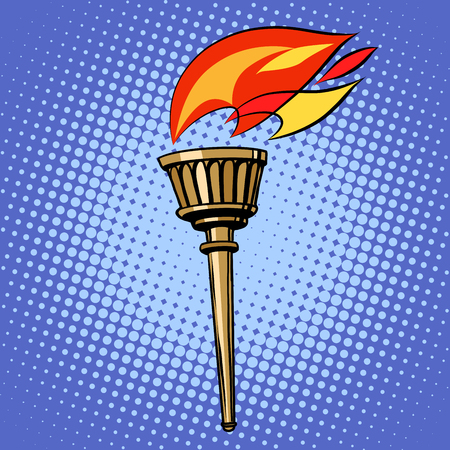 sports form: sports torch, fire torchbearer pop art retro style. Summer and winter sports games. Relay peace and sport. Vector torch