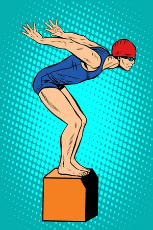 sports form: Swimmer at the start, water sports. Summer sports games. Vector athlete. pop art retro style. Swim time in the pool. Illustration