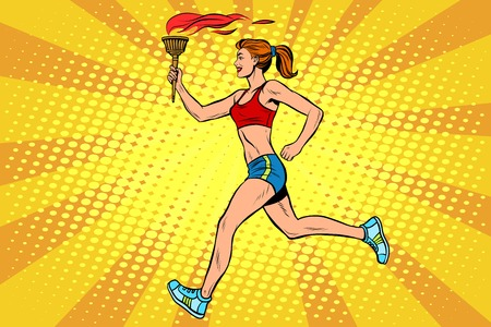 The girl athlete torchbearer sports fire. Torch relay. Summer sports games. Vector athlete. pop art retro style Çizim