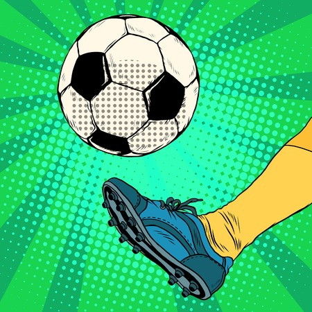 first form: Kick a soccer ball pop art retro style. The European football. The free-kick