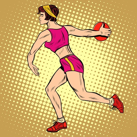 first form: Girl discus thrower athletics. Summer sports games. Vector athlete. pop art retro style