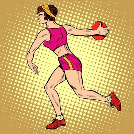 sports form: Girl discus thrower athletics. Summer sports games. Vector athlete. pop art retro style
