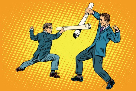 business competition: Businessmen fencing competition ideas pop art retro style. Plans and schemes. Businessmen. Architecture and construction. Sport and business Illustration