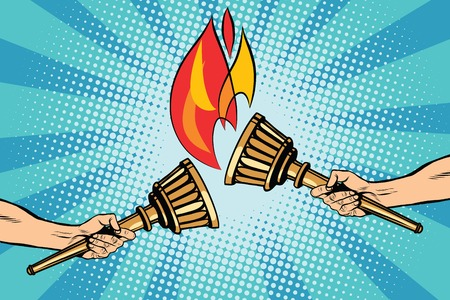 ignited: Torches torch relay pop art retro style. The fire ignited. Ancient antique Holy fire. Sports torches