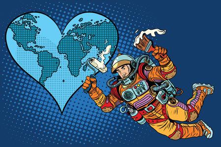 beloved: Environment day, Earth heart and the astronaut pop art retro style. Space and ecology. Repair beloved planet Earth. Illustration