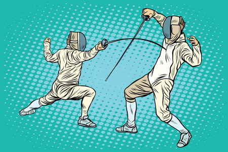 duel: The sports fencing on swords pop art retro style. Sports games. athletics. Summer games. Duel sports. Electric sword rapier
