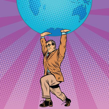 male athlete: International business boss keeps planet Earth pop art retro style. The global economy. Male athlete Illustration