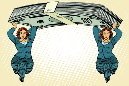 prop: Female caryatids holding bundle of dollars pop art retro style. Ancient architecture in business topics.
