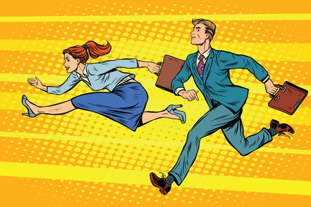 business competition: Businessman and businesswoman running competition pop art retro style