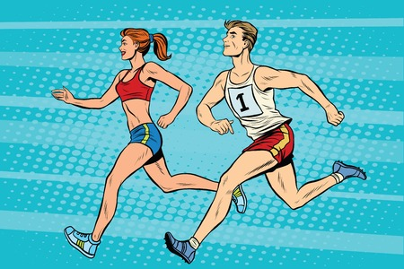 Man woman athletes running track and field summer games pop art retro style. A sporting event. Marathon or sprint.