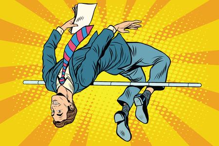 Biznesmen skok w skoku pop-artu w stylu retro. Sport i biznes. Sukces, zwycięstwo