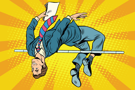 Businessman high jump pop art retro style. Sport and business. Success achievement victory