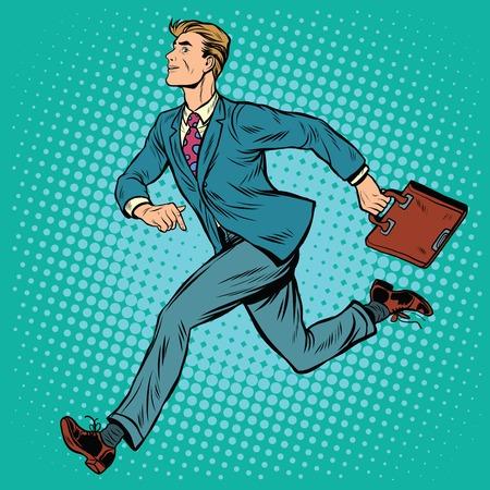 Businessman running man pop art retro style. Business and sport