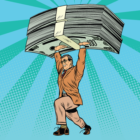 millionaire: financial success, businessman and money pop art retro style. Millionaire with dollars Illustration