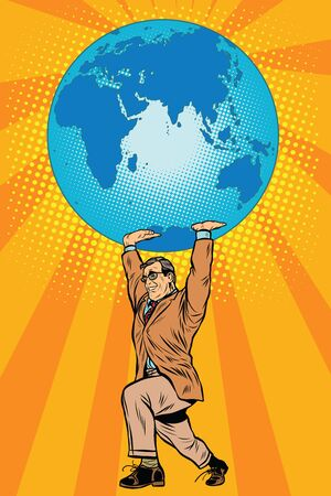 keeps: International business boss keeps planet Earth pop art retro style. The global economy. Male athlete Illustration