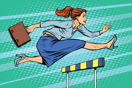 woman jump: businesswoman running hurdles pop art retro style. A woman in business. Competition and work. Career