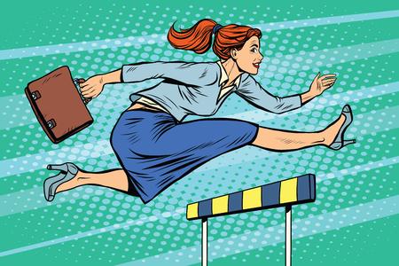 Geschäftsfrau läuft Hürden Pop-Art Retro-Stil. Eine Frau in der Wirtschaft. Wettbewerb und zu arbeiten. Karriere Vektorgrafik