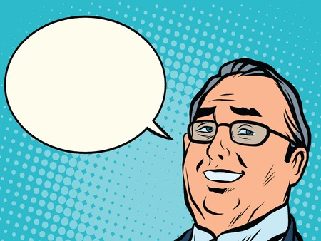 comic bubble: face business boss comic book bubble pop art retro style Illustration