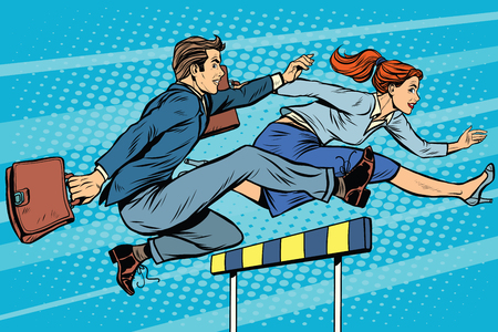 business competition: Business competition woman and man running pop art retro style. Running hurdles. Sport and business. Illustration