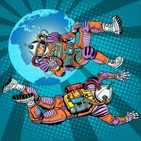 gewichtloosheid astronauten in de ruimte boven de aarde pop art retro stijl. De studie van de ruimte. Retro astronauten vector. Commando van een ruimteschip Stock Illustratie