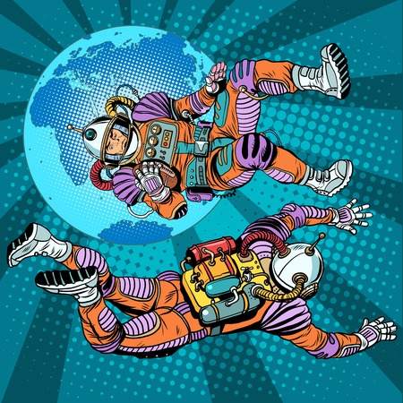 spacesuit: weightlessness astronauts in space over the earth pop art retro style. The study of space. Retro astronauts vector. Command of a spaceship