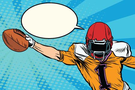 quarterback: American football athlete ball goal pop art retro style. Retro sport. Sports game. The American football championship. Football Cup. League Illustration