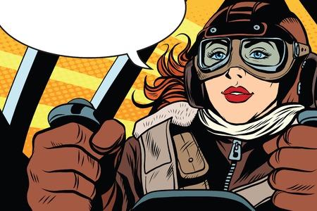 Chica retro piloto a los mandos del estilo del arte pop retro del avión. El comandante de la aeronave. Transporte aéreo