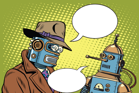 dad son: Dad and son robots pop art retro style. Artificial intelligence. Science fiction