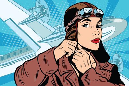 소녀 파일럿 출발에 대 한 준비 팝 아트 복고 스타일입니다. 여행과 비행기. 항공 운송