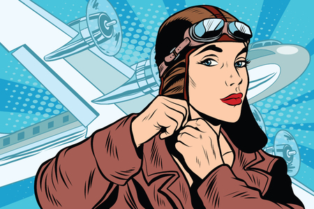 girl pilot prepares for departure pop art retro style. Travel and planes. Air transport