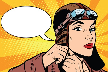 Woman retro military pilot pop art retro style. A military pilot. Retro vector aviation