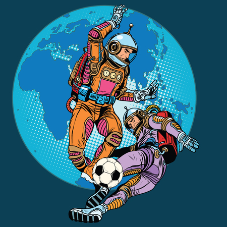 to gravity: Football soccer match astronauts play pop art retro style. In zero gravity astronauts men play. Retro football. Future fantasy football