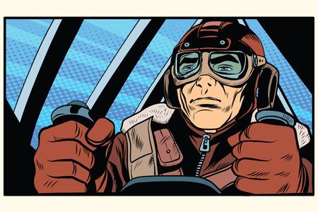 rétro militaire Aviator pilote pop art style rétro. La première ou la deuxième guerre mondiale. vecteur armée Retro