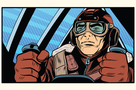 second world war: retro military Aviator pilot pop art retro style. The first or the second world war. Retro army vector Illustration