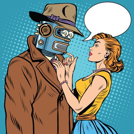 unusual valentine: girl and robot artificial intelligence fiction pop art retro style. Unusual pair of lovers. Valentine day Illustration
