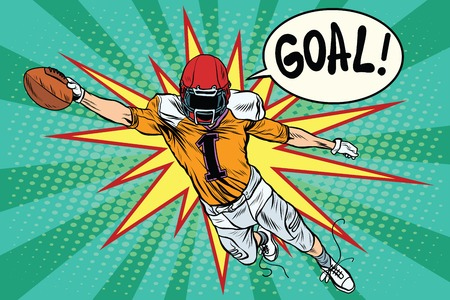 touchdown: American football athlete ball goal pop art retro style. Retro sport. Sports game. The American football championship. Football Cup. League Illustration