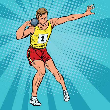 strong men: Athlete throwing sports core pop art retro style. Summer sports game athletics. Retro sport vector