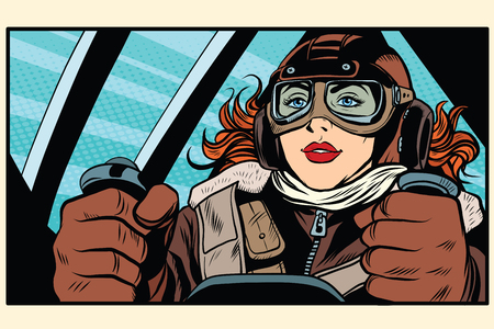 Girl retro pilot at the controls of the aircraft pop art retro style. The captain of the aircraft. Air transport