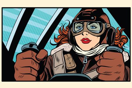 Meisje retro piloot bij de controles van het vliegtuig pop art retro stijl. De gezagvoerder van het vliegtuig. Lucht transport