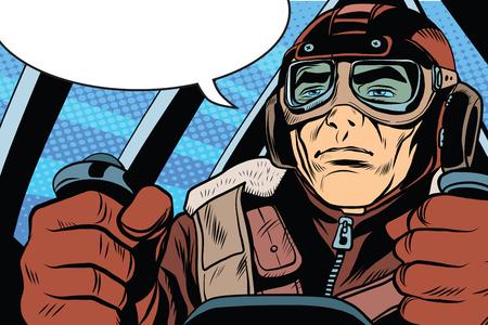 retro military Aviator pilot pop art retro style. The first or the second world war. Retro army vector Stock Illustratie