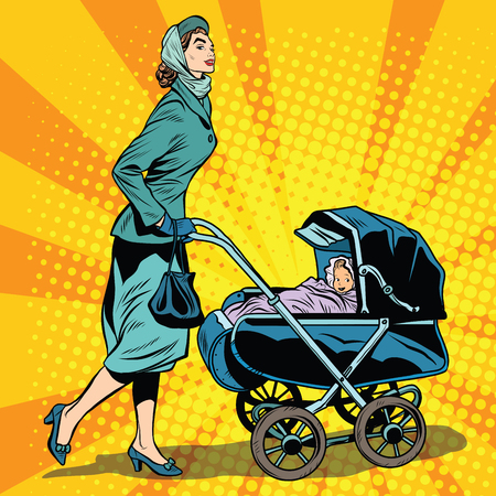 woman walk: mom and stroller with baby pop art retro style. Mom walks with baby in the fresh air. Mom in the Park