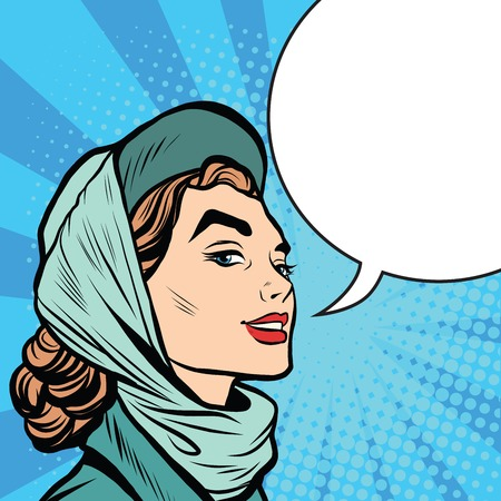 stylish woman: Face stylish retro women pop art retro style. the woman says comic bubble Illustration