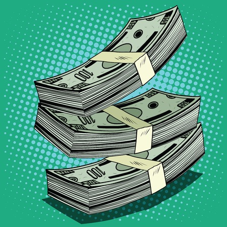 cash money: Stack of money dollar bills cash pop art retro style Illustration