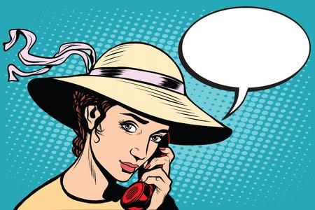 woman on phone: Retro woman talking on the phone pop art retro style. Illustration