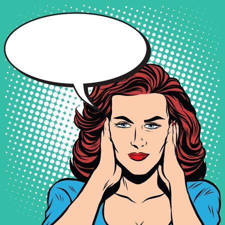 hearing: Girl ears closed silence pop art retro style. The senses hearing. Ears retro vector Illustration