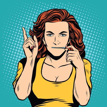 silencio: Chica con cremallera boca bloquear estilo retro del arte pop secreto silencio. Con cuidado, escuchando. Vigilancia y escuchas telefónicas Vectores